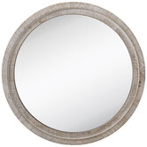 Whitewash Round Wood Wall Mirror