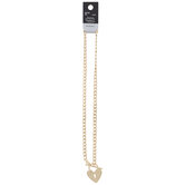 """Heart Lock Curb Chain Necklace - 16"""""""