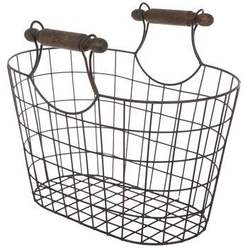 Rustic Oval Metal Mesh Basket - Small