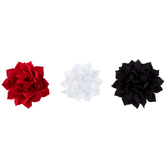 Black, Red & White Flower Clips