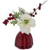 White Poinsettia & Berries In Red Vase