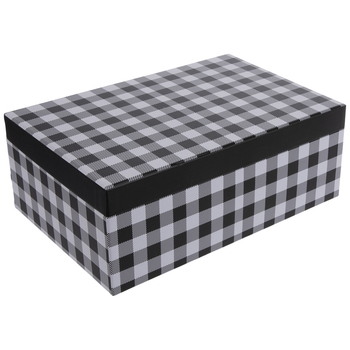 "Black & White Buffalo Check Gift Box - 8 1/4"" x 12 1/4"""