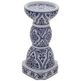 White & Blue Tile Candle Holder