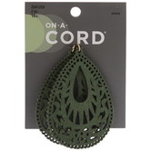 Green Filigree Teardrop Wood Pendants