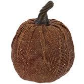 Orange Glitter Burlap Pumpkin