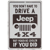 Brown & White Jeep Metal Sign