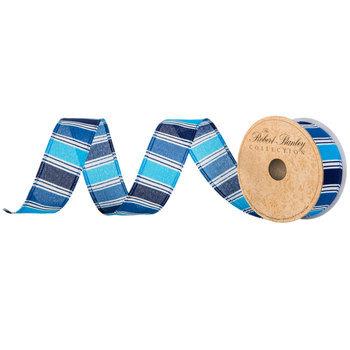 "Blue & White Striped Wired Edge Ribbon - 1 1/2"""