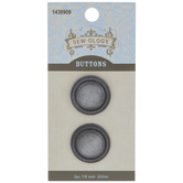 Pewter Roped Metal Shank Buttons - 22mm