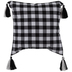 Black & White Buffalo Check Pillow Cover With Tassels
