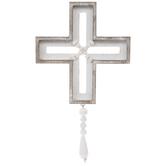 Whitewash Beaded Wood Wall Cross