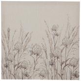 Beige Wildflowers Linen Canvas Wall Decor