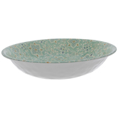 Green & White Floral Tile Serving Bowl