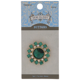 Emerald & Gold Rhinestone Shank Button - 30mm