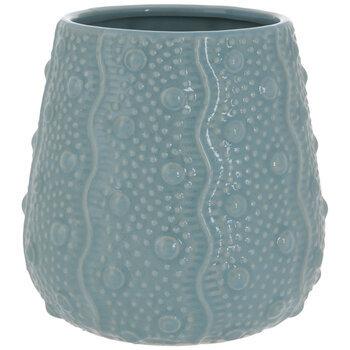 Blue Wavy Lines & Dots Pot