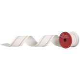 "Cream & Red Striped Wired Edge Ribbon - 2 1/2"""