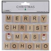 Merry Christmas Santa Wood Tile Stickers