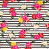 Floral Striped Knit Fabric
