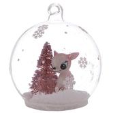 Pink Deer & Tree Snow Globe Ornament