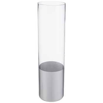 Glass Cylinder Vase With Silver Base - Medium