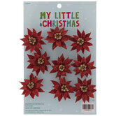 Mini Red Glitter Poinsettia Ornaments
