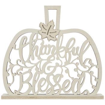 Thankful & Blessed Pumpkin Cutout Wood Decor