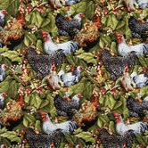 Roosters Cotton Calico Fabric