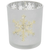 Silver & Gold Snowflake Glass Candle Holder