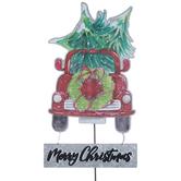 Merry Christmas Truck Metal Garden Stake