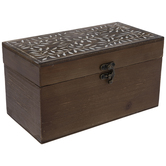 Leaf Carved Rectangle Wood Box