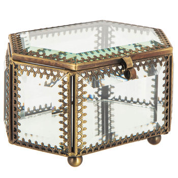Ornate Mirrored Glass Jewelry Box