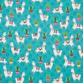 Llama & Cactus Knit Fabric