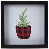Pine In Buffalo Check Pot Framed Wall Decor