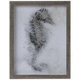 Gray Watercolor Seahorse Framed Wall Decor