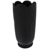Matte Black Ridged Vase