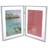 """White Hinged Metal Double Float Frame - 5"""" x 7"""""""