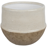 Cream & Tan Crackled Flower Pot