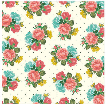 "Polka Dot & Floral Scrapbook Paper - 12"" x 12"""