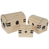 Wood Trunks With Handles Set