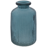 Blue Textured Leaves Glass Vase