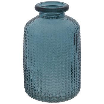Blue Textured Leaves Glass Vase