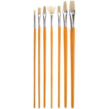 Bristle Paint Brushes - 7 Piece Set