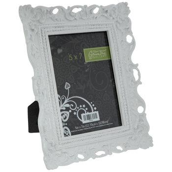 """White Glossy Ornate Frame - 5"""" x 7"""""""