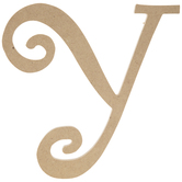 """Curly-Q Wood Letter Y - 8"""""""