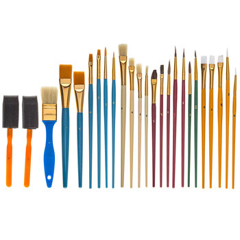 Tempera Paint Brushes - 25 Piece Set