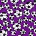 Purple Soccer Balls Fleece Fabric