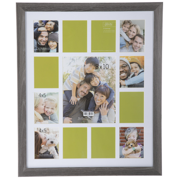 Gray Scalloped Collage Wood Wall Frame
