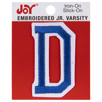 "Blue Junior Varsity Letter Iron-On Applique D - 2"""