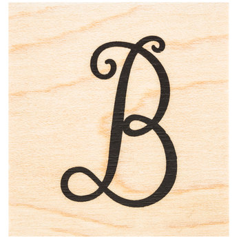 Script Letter Rubber Stamp - B