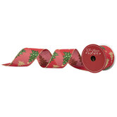 "Polka Dot & Glitter Trees Wired Edge Ribbon - 2 1/2"""