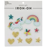 Unicorn, Rainbow & Star Glitter Iron-On Appliques